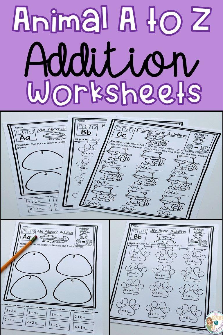 Animal A to Z Addition Worksheets | Addition worksheets, Worksheets ...