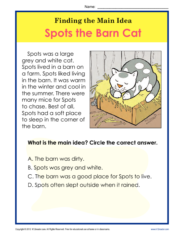 Printable Worksheets nonfiction main idea worksheets : 1st or 2nd Grade Main Idea Worksheet About Spots The Barn Cat ...