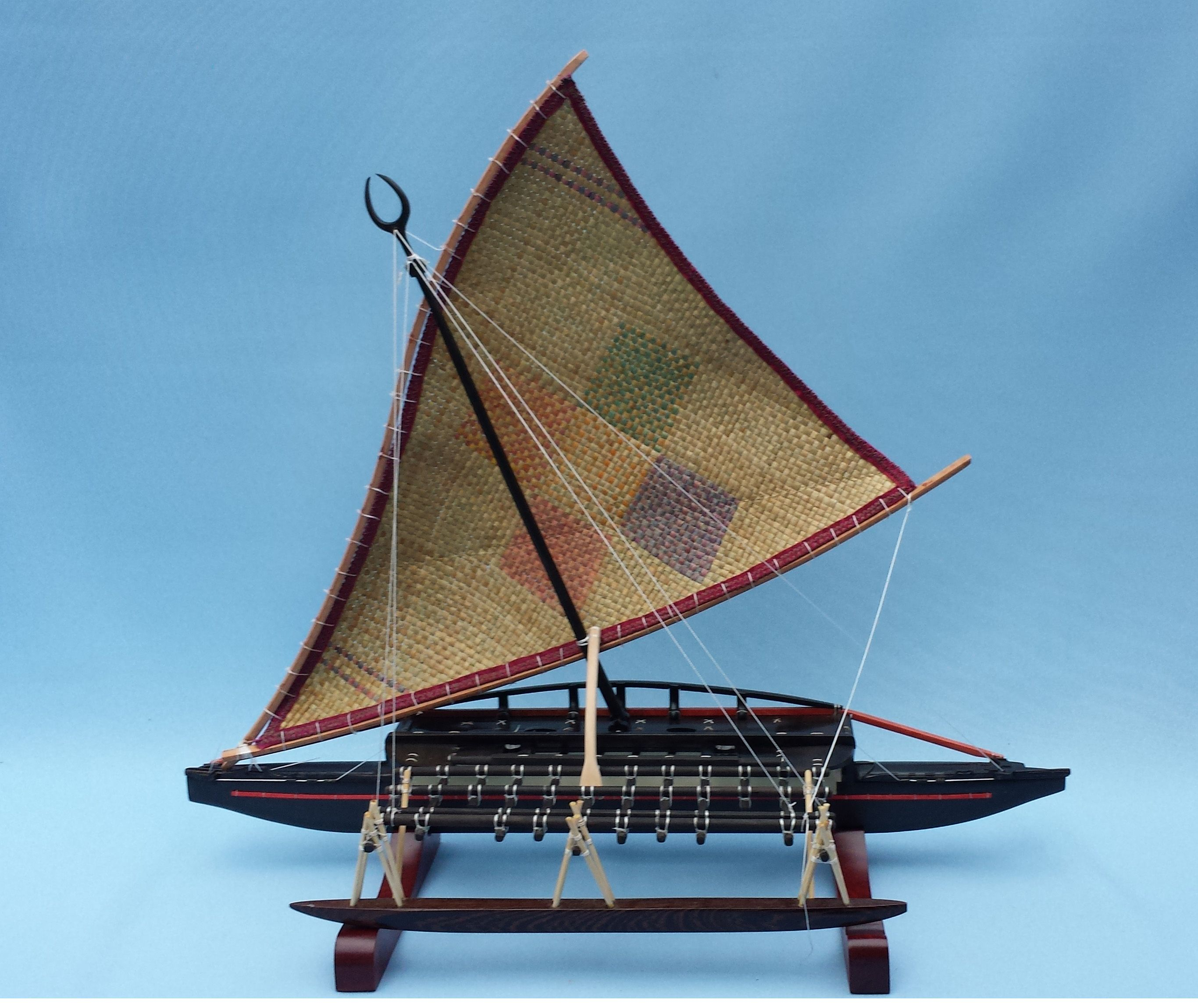 Side View Of The Fiji Canoe Camakau Also Called Thamakau With Its Beautiful Matted Sail