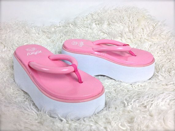 acc190eec1f 90 s Cyber Geisha Pink Platform Foam Wedge Thong Sandals    9 by  FeelingVagueVintage