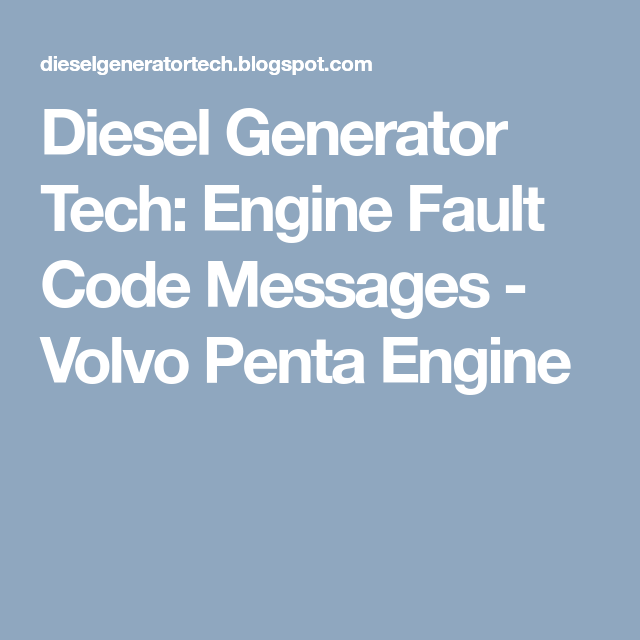 Engine Fault Code Messages Volvo Penta Engine Coded Message