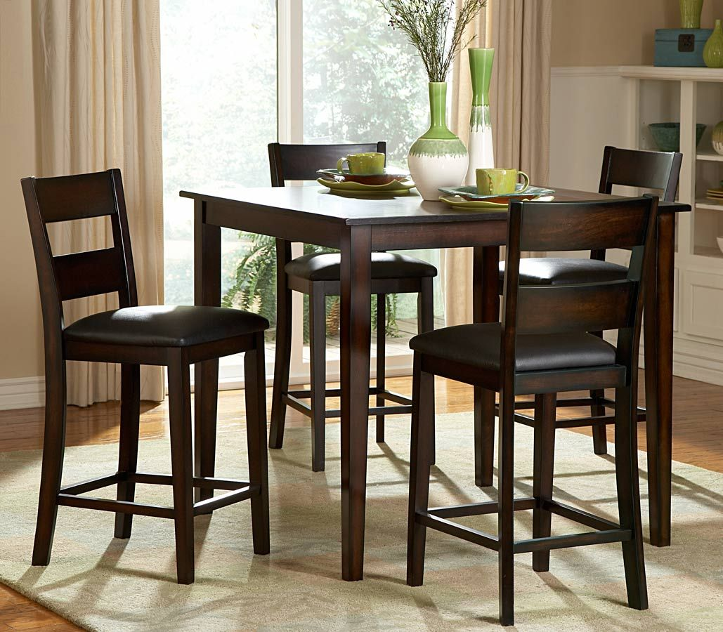 Dining Room, : Breathtaking Design For Dining Room Decoration With 4 Seat  Square Tall Dining Table Including Black Leather Chair Pads And Light  Walnut Tall ...
