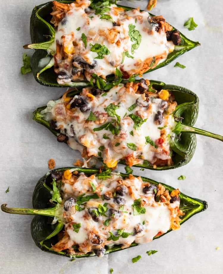 Easy Chicken Stuffed Poblano Peppers Recipe Stuffed Poblano Peppers Stuffed Peppers Easy Chicken
