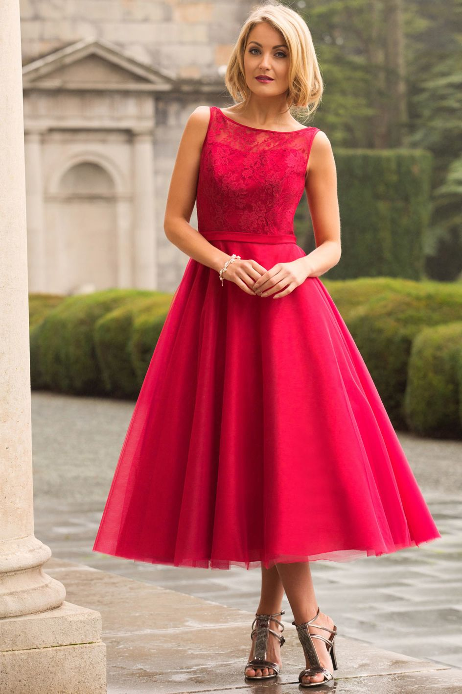 Us tea length lace bodice a line bridesmaid dress shop for