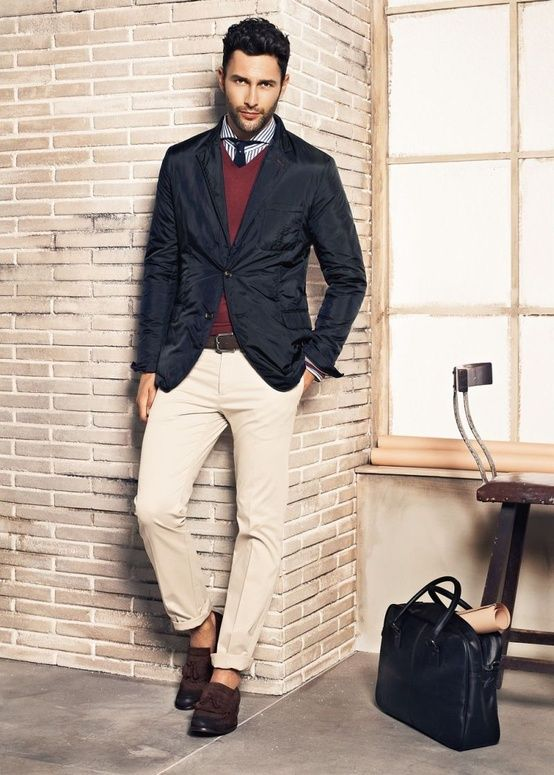 ab0f52abdf5 Navy blazer jacket sport coat, burgundy sweater, tan khaki pants. Smart  casual