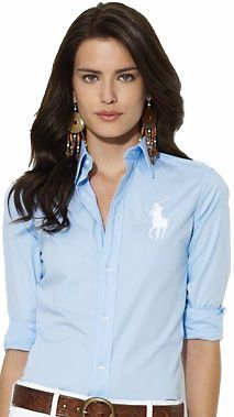 Camisa Social Polo Ralph Lauren Feminina Azul Claro  bdf2b8f4320