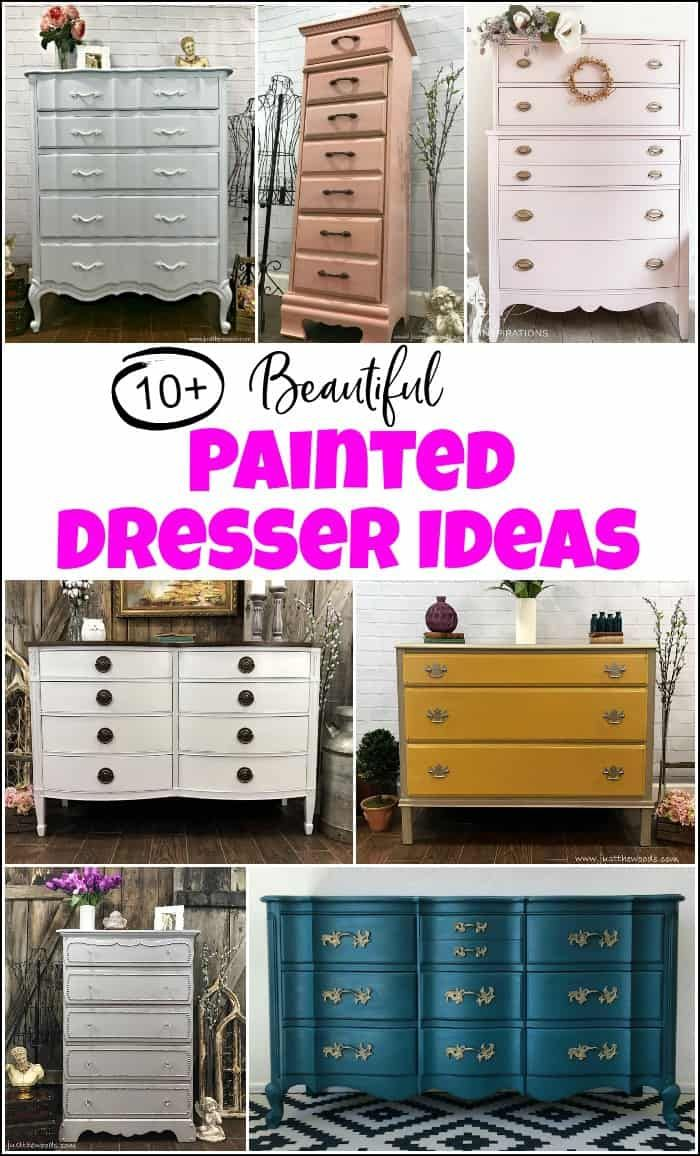 10  of the Best and Beautiful painted dresser ideas when you want to paint a dresser and need some inspiration. Painted furniture ideas to inspire you. #painteddresserideas #painteddressers #howtopaintadresser #paintedchestofdrawers #painteddresserbeforeandafter #paintedfurniture #paintedfurnitureideas #paintingfurniture
