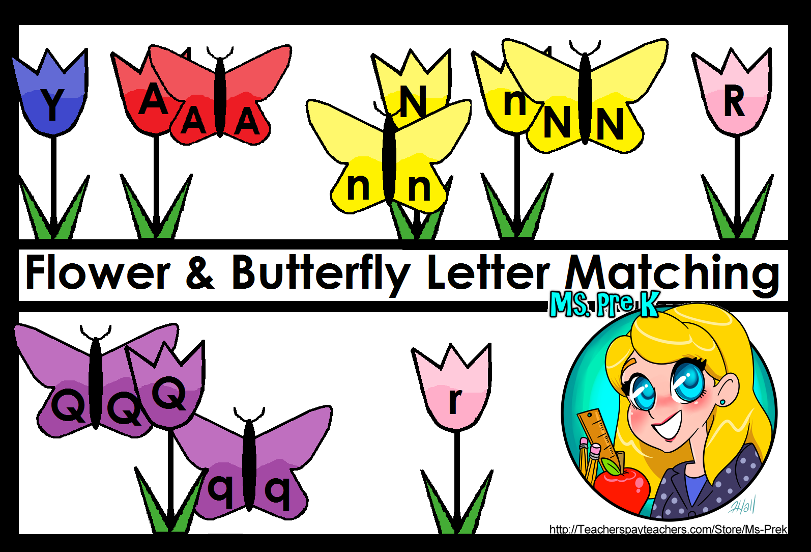 Butterfly Amp Flower Letter Matching For Preschool
