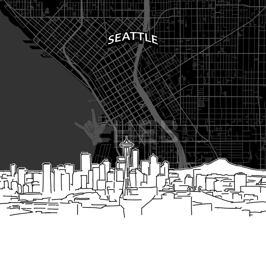 Seattle skyline with map | Maps Vector Downloads | Pinterest ...