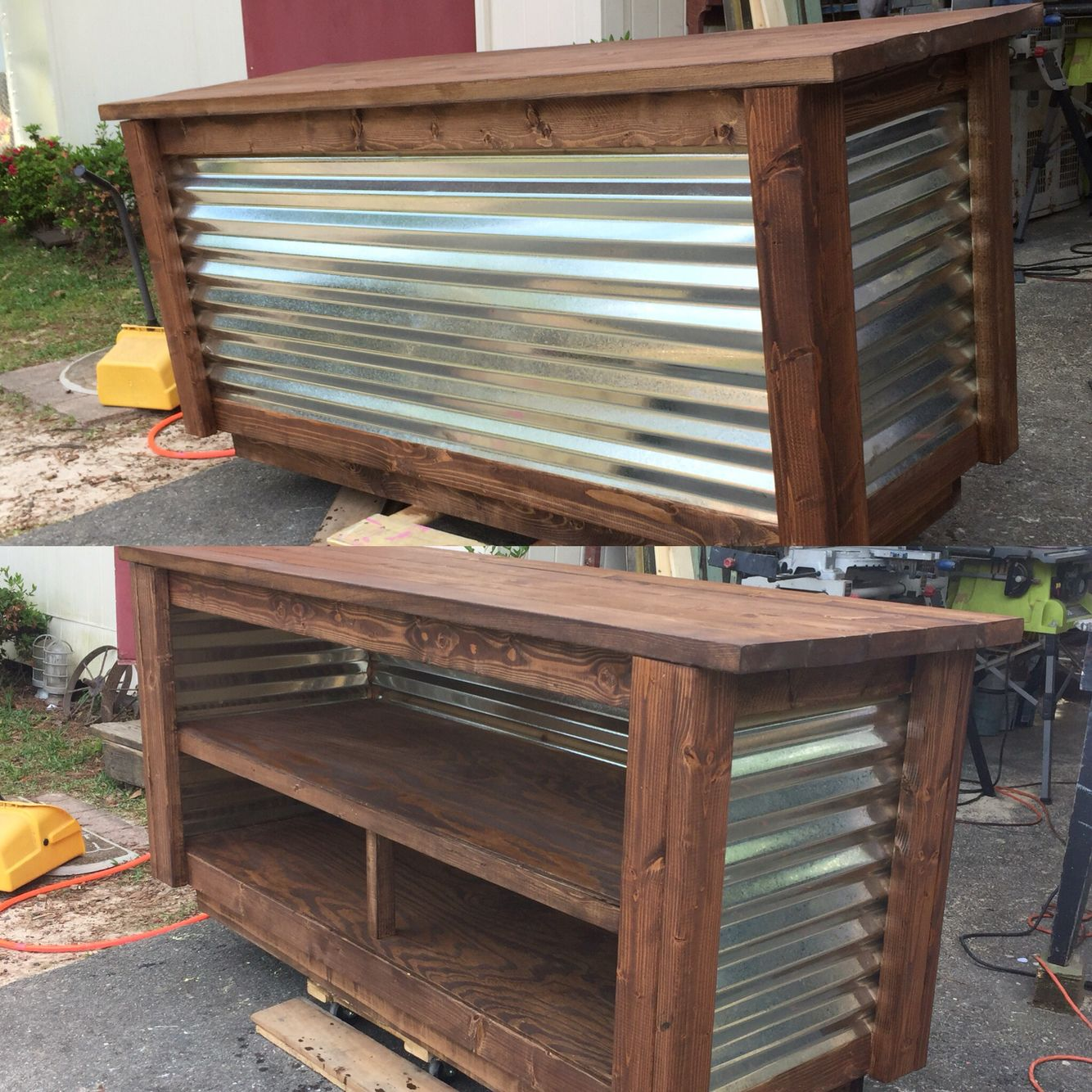 tin furniture. another cash wrap made from pallets and corrugated tin furniture