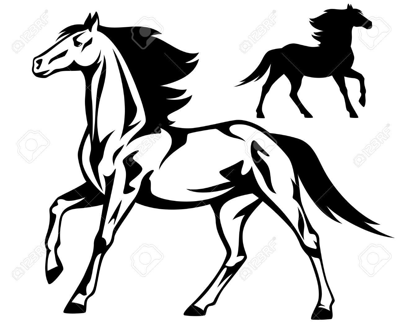 Running Horse Black And White Vector Outline And Silhouette Black And White Drawing Running Horses Black And White Illustration