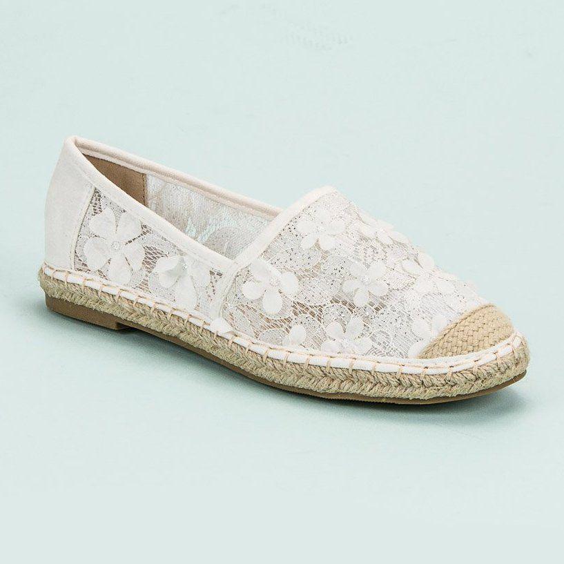 Nio Nio Koronkowe Espadryle W Kwiaty Biale Flat Espadrille Espadrilles Shoes