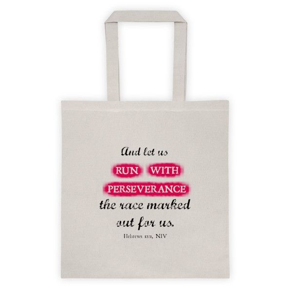 Hebrews 12:1 Run with Perseverence Christian Tote bag