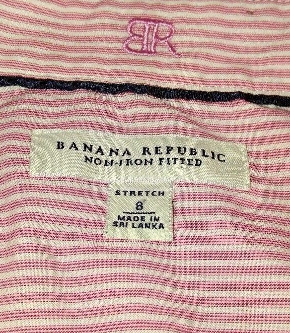 Banana Republic Womens Fitted Non-Iron Pink Stripe Button Down Shirt Sz 8 Career…