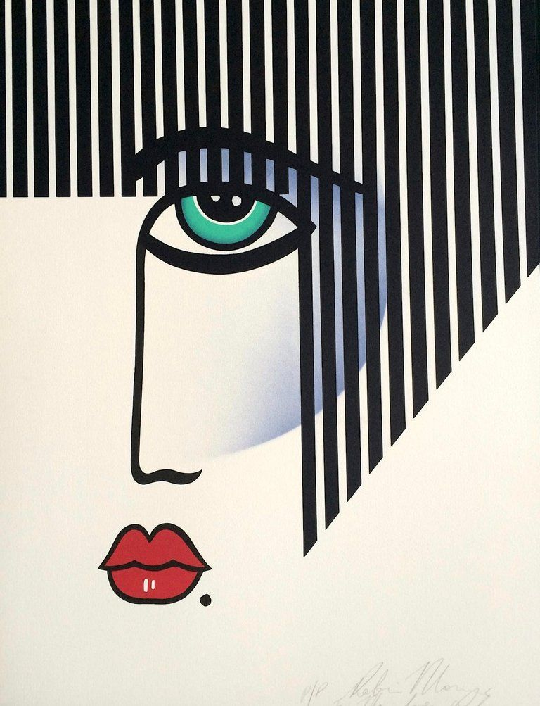 Robin Morris - NEW DECO Signed Lithograph, Modern Portrait Bold Stripe Hair, Red Lips, Art Deco