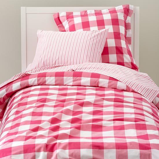 Land Of Nod Breezy Gingham Duvet Sham Girl Beds Beds For Kids Girls Girl Room