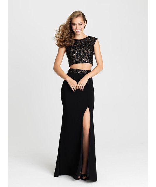 9b52d5547 Dos piezas de la noche vestidos sin mangas Scoop sirena vestidos baile Sexy  Side dividir negro   rojo robe de soirée por encargo más el tamaño
