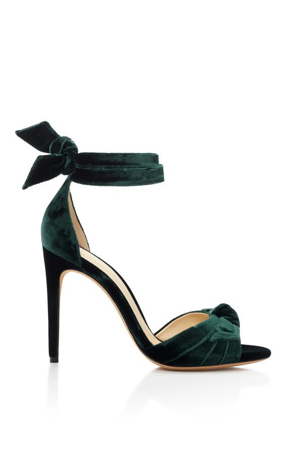 Alexandre Birman - Clarita bow-embellished green velvet sandals