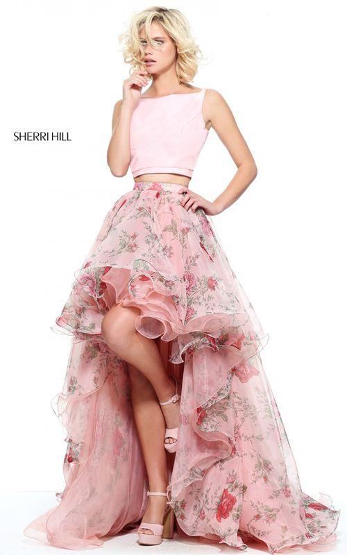 Blush Print Sherri Hill 51098 Two Piece Long Prom Dress | Shop dress ...