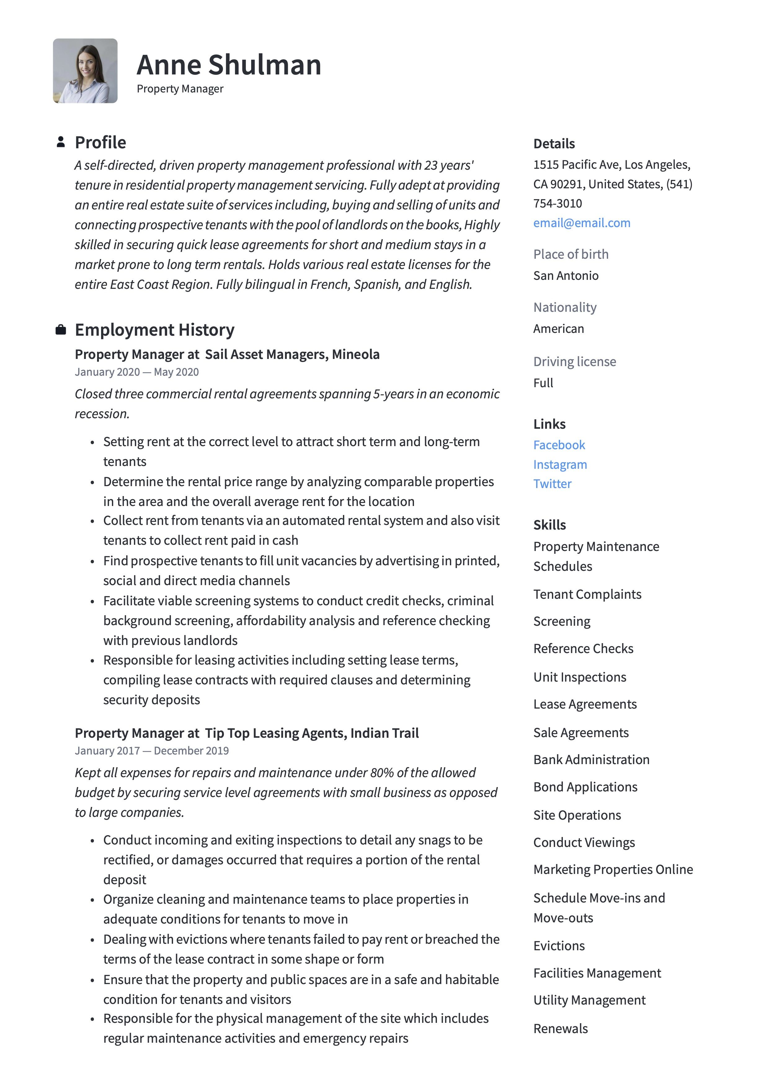 Property Manager Resume Sample Property Management Manager Resume Guided Writing