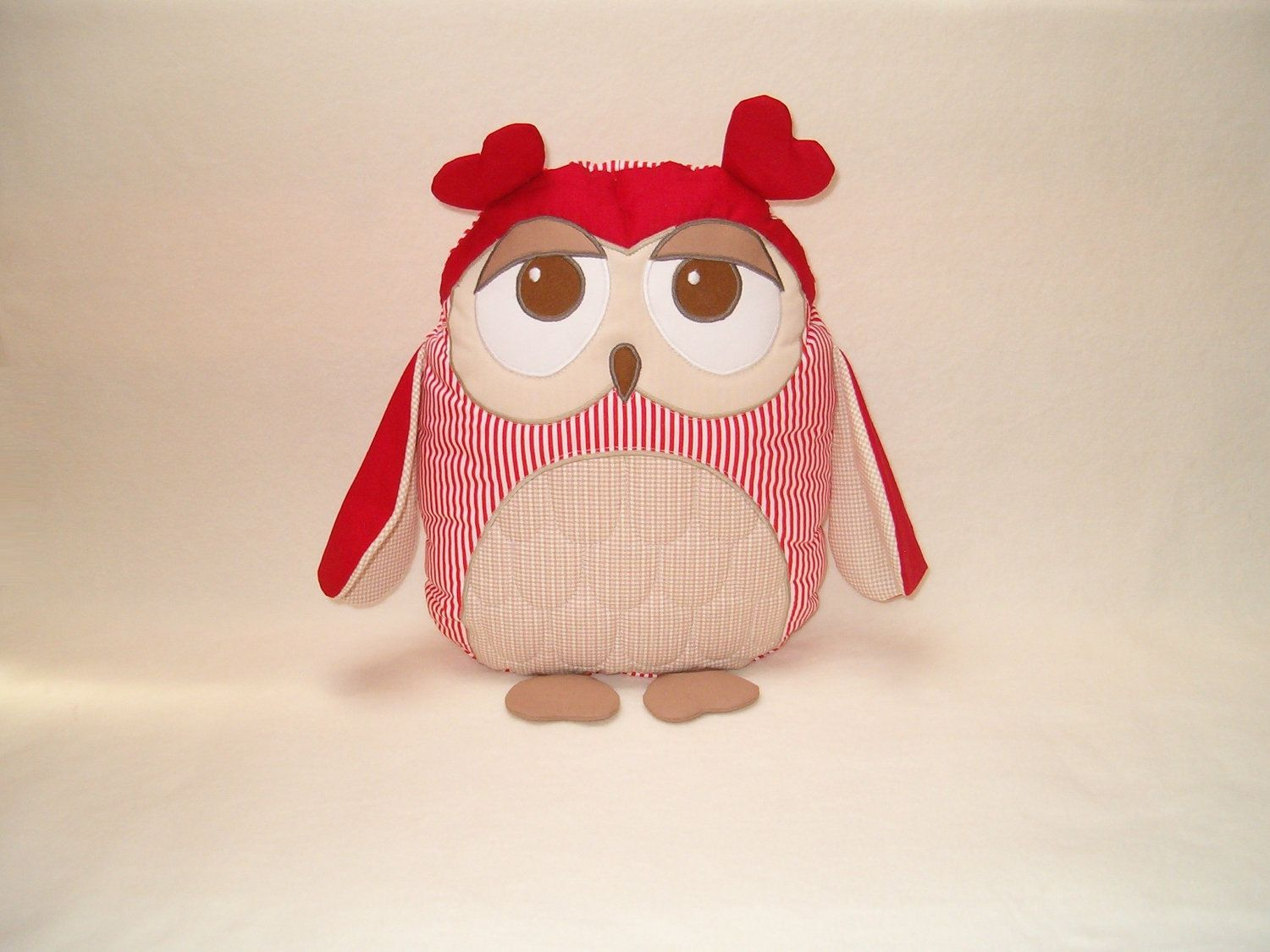 Organic Owl TOY Stuffed Animal  Softie  Unisex Red Beige Brown / Al Heart Owl Pillow - HET -. $40.00, via Etsy.