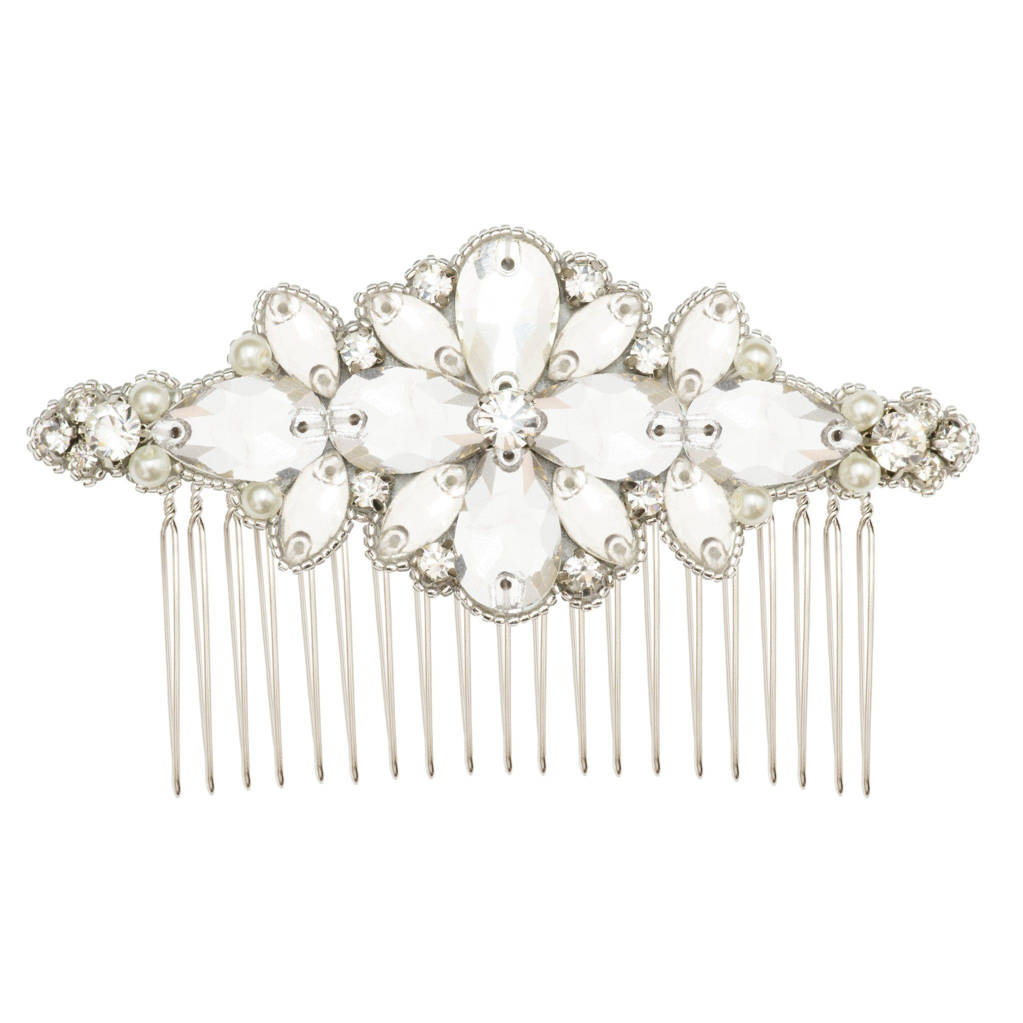 Silver wedding hair comb with crystals and pearls ucharia