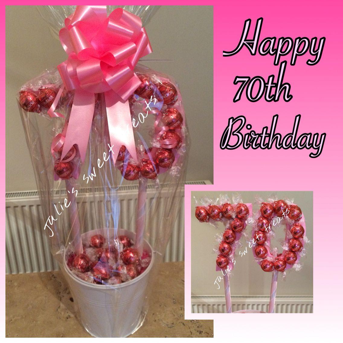 70th birthday tree created using strawberries & cream lindt lindors ...