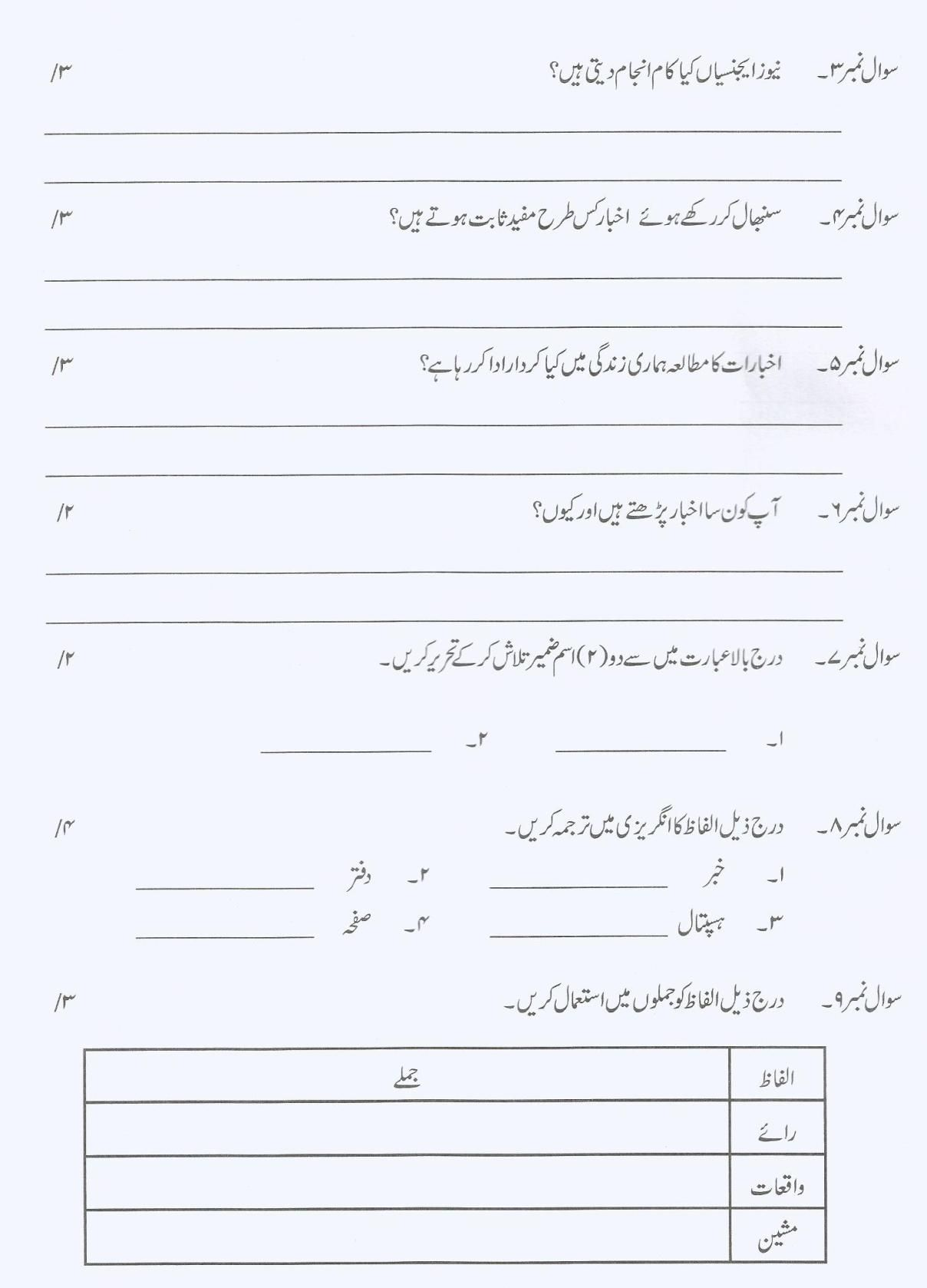 Urdu Tenses Worksheet For Grade 6   Printable Worksheets and Activities for  Teachers [ 1678 x 1208 Pixel ]