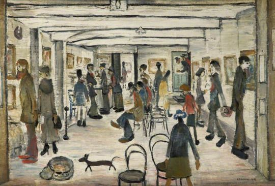 Laurence Stephen Lowry (1887-1976) (British) The Mid-Day Studios (1954) oil on canvas 49 x 75 cm