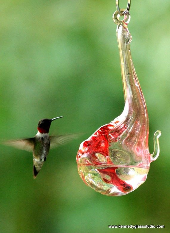 From KennedyGlassStudio via etsy.com, a beautiful glass blown hb feeder for the HB herself