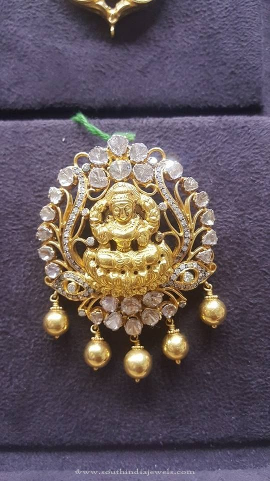 Latest gold lakshmi pendant with white stones white stone gold gold lakshmi pendant with white stones gold pendant with white stones 22k gold pendant designs 2016 aloadofball Choice Image