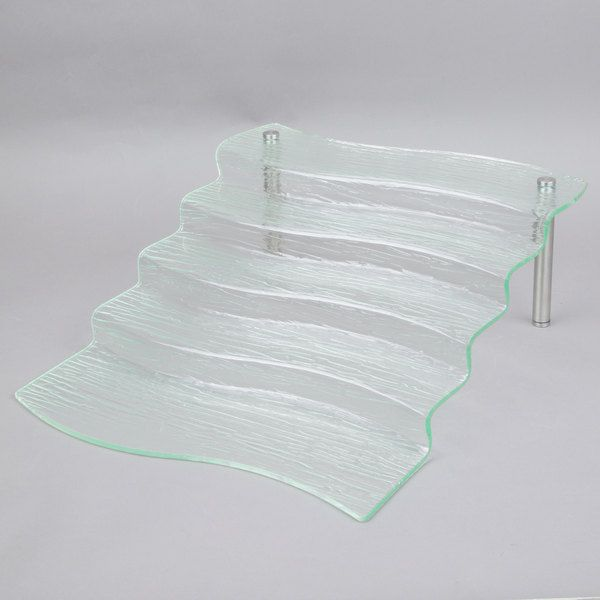 Cal Mil 1463 Glacier Faux Glass 5 Tier Stair Step Riser 11 1 2 X 20 X 7 Tablecraft Display Risers Display Stand