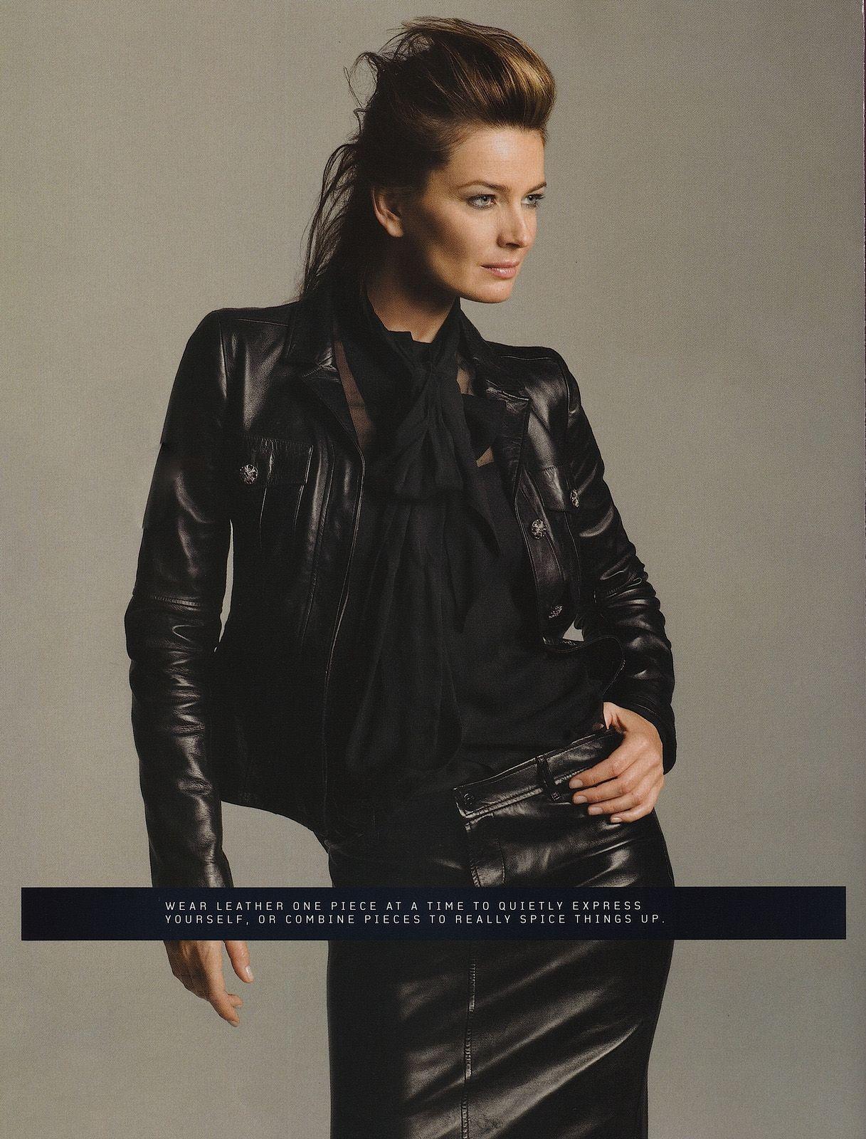 Paulina Porizkova in Chanel leather jacket and Ralph Lauren leather skirt