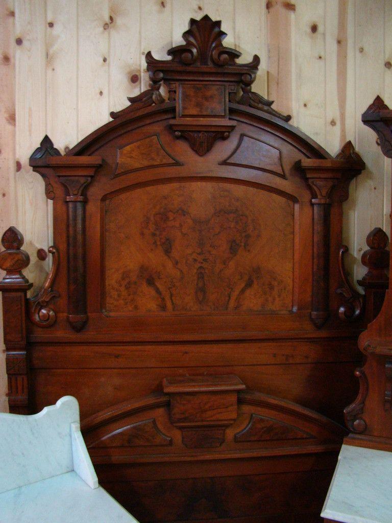 Great 3 Piece 1870 S Victorian Walnut Marble Top Bedroom