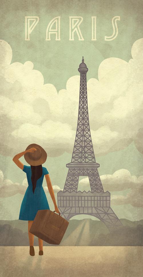 RETRO FRANCE TRAVEL Poster Vintage Paris Travel Ad Quality Reproduction Gicl