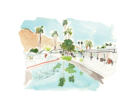 Watercolor Print Palm Springs Pool Watercolor Print Watercolor