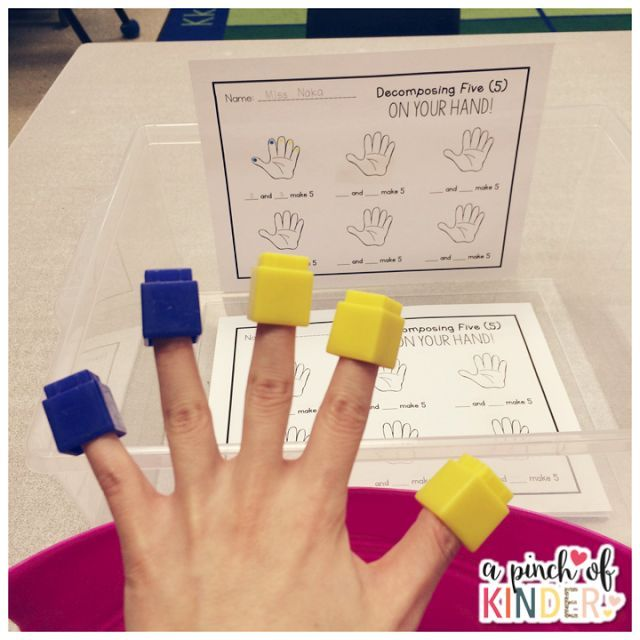 Decomposing Numbers Decomposing 5 On Your Hand Kindergarten Math Kinder Math Prek Math
