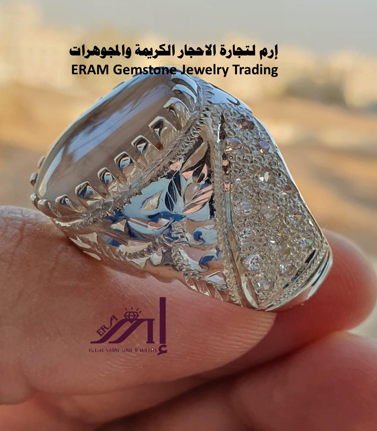 حبك وشغفك يهمنا خاتم ملكي عقيق يمني مشجر مرصع زركون طبيعي100 Agate للعرض