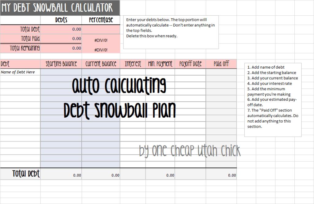 Debt Snowball Excel Spreadsheet Money Matters In 2018 Pinterest