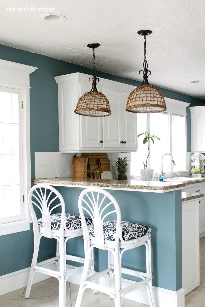my fresh new blue kitchen reveal the wicker house With kitchen colors with white cabinets with woven basket wall art