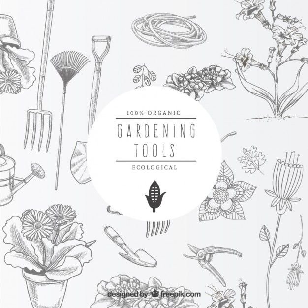 Gardening tools ilustration design pinterest for Paginas de jardineria