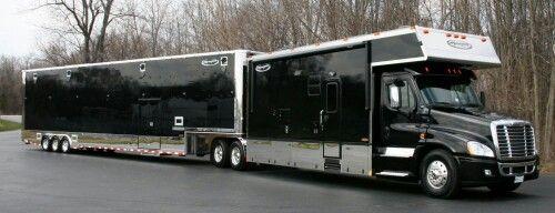 Black Renegade toterhome and trailer | race shop dreams | Big rig