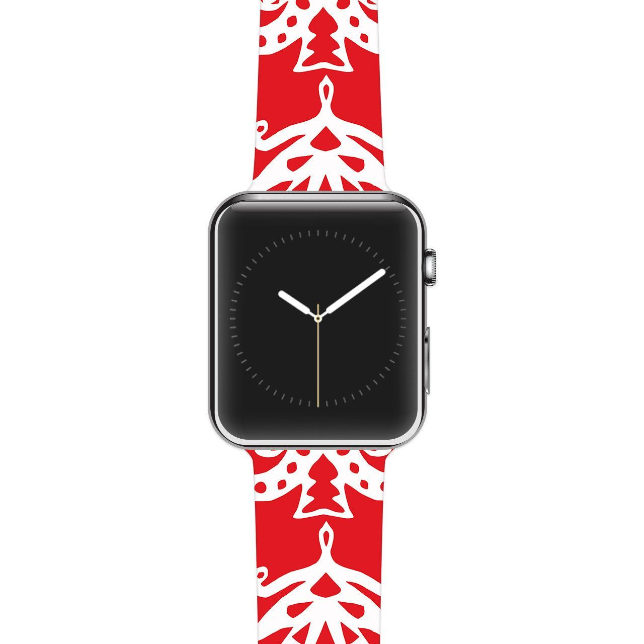 "Miranda Mol ""Ornate Trees Red"" White Holiday Apple Watch Strap"