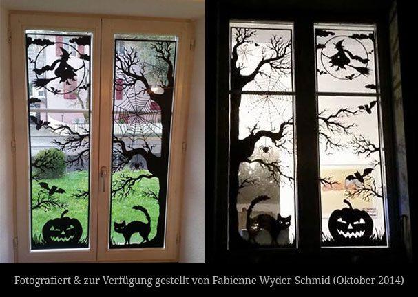 Plotte dieses XXL-Halloween-Fensterbild als Türdekoration #herbstdekofensterkinder