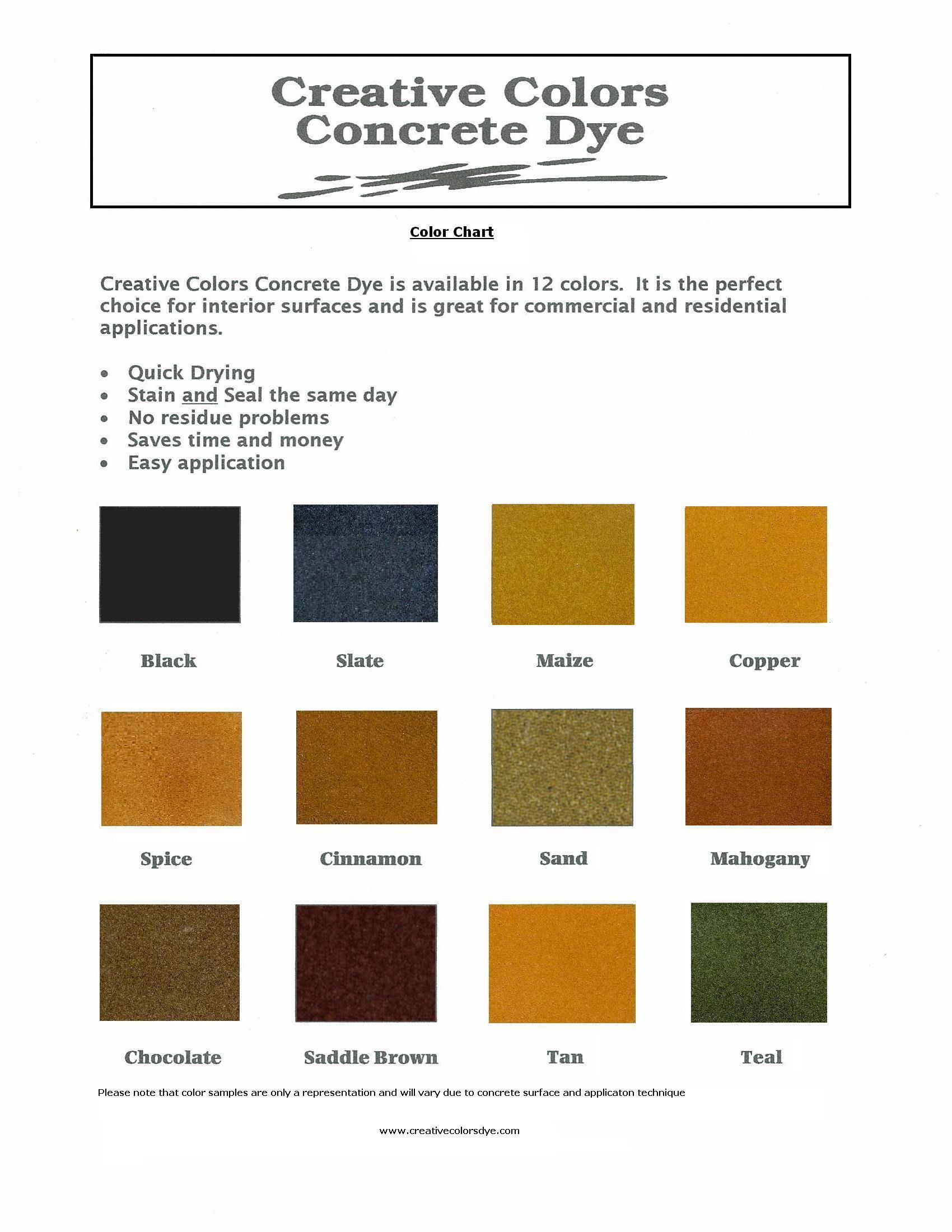 Concrete Dye Color Chart By Creative Colors Concrete Dye Creative Colour Concrete Decor