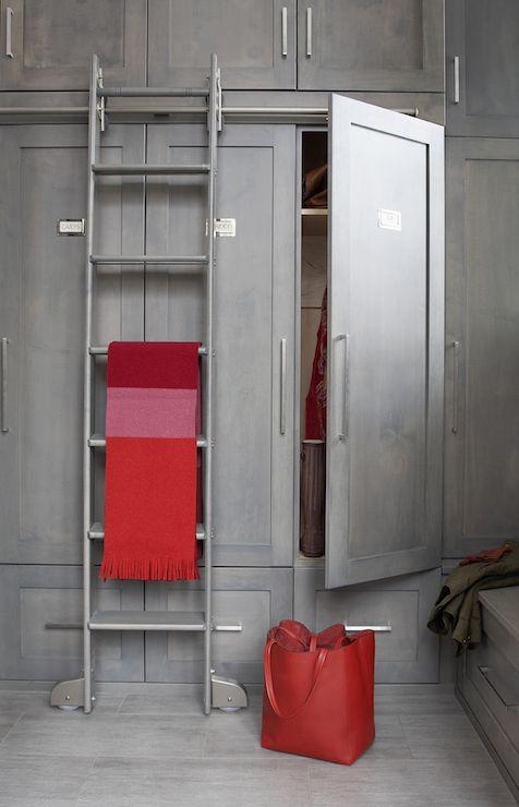 Leo Designs Chicago   Closets   Gray Wardrobe, Gray Wardrobe Cabinets,  Closet Ladder, Gray Closet Cabinets, Red And Gray Closet, Contemporary |  Pinterest ...
