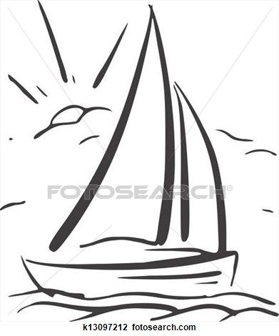 Kéz, húzott, háttér, noha, sailboat., vektor, eps8 Clipart ...