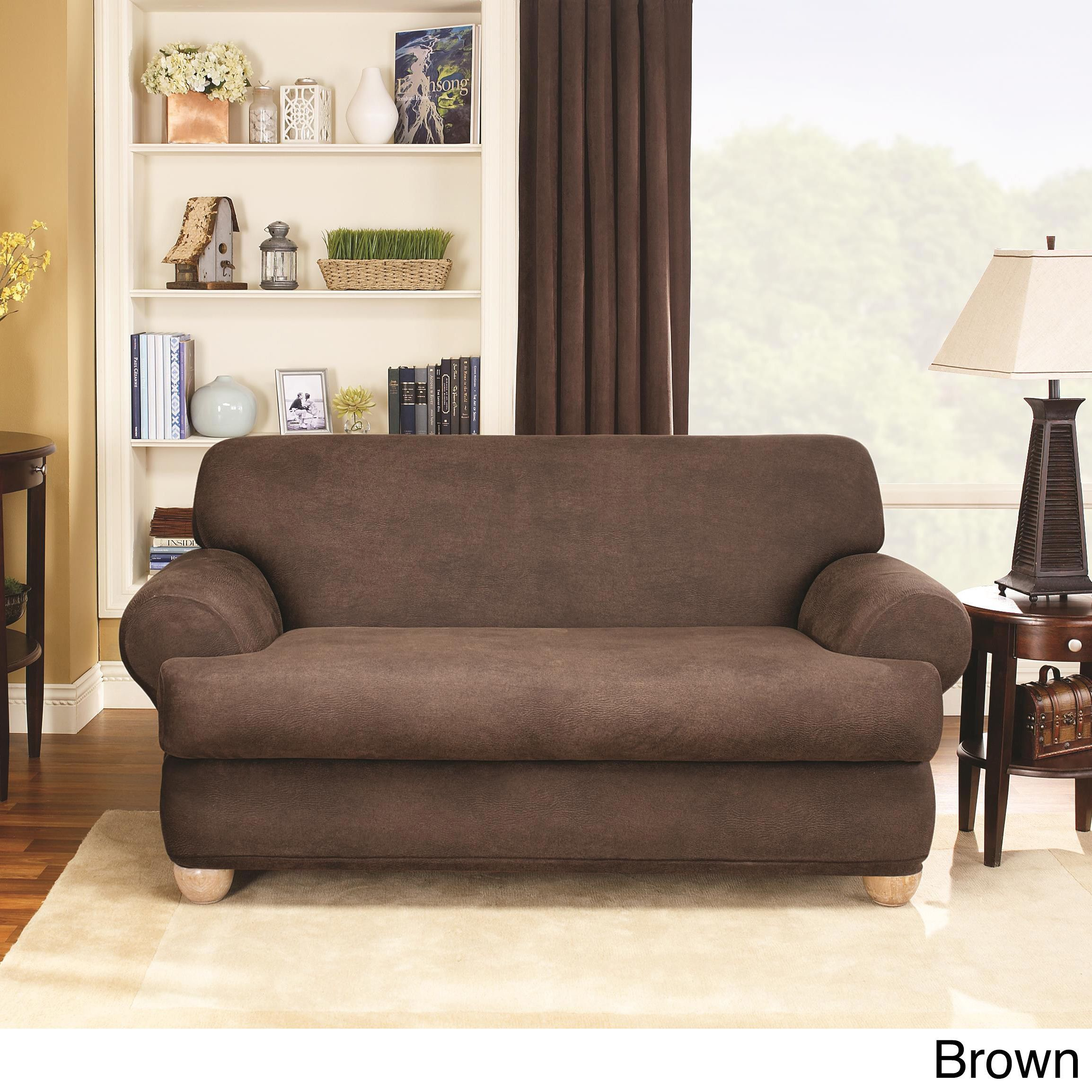 Sure Fit Stretch Faux Leather 2-piece T-cushion Sofa Slipcover (Brown) (Solid)
