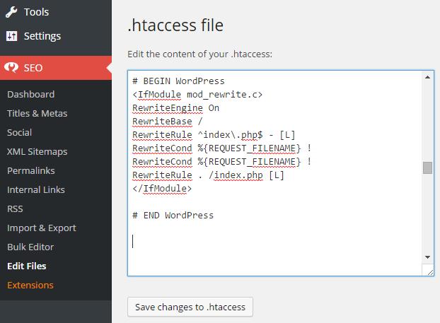 Edit WordPress htaccess file using Yoast SEO Plugin