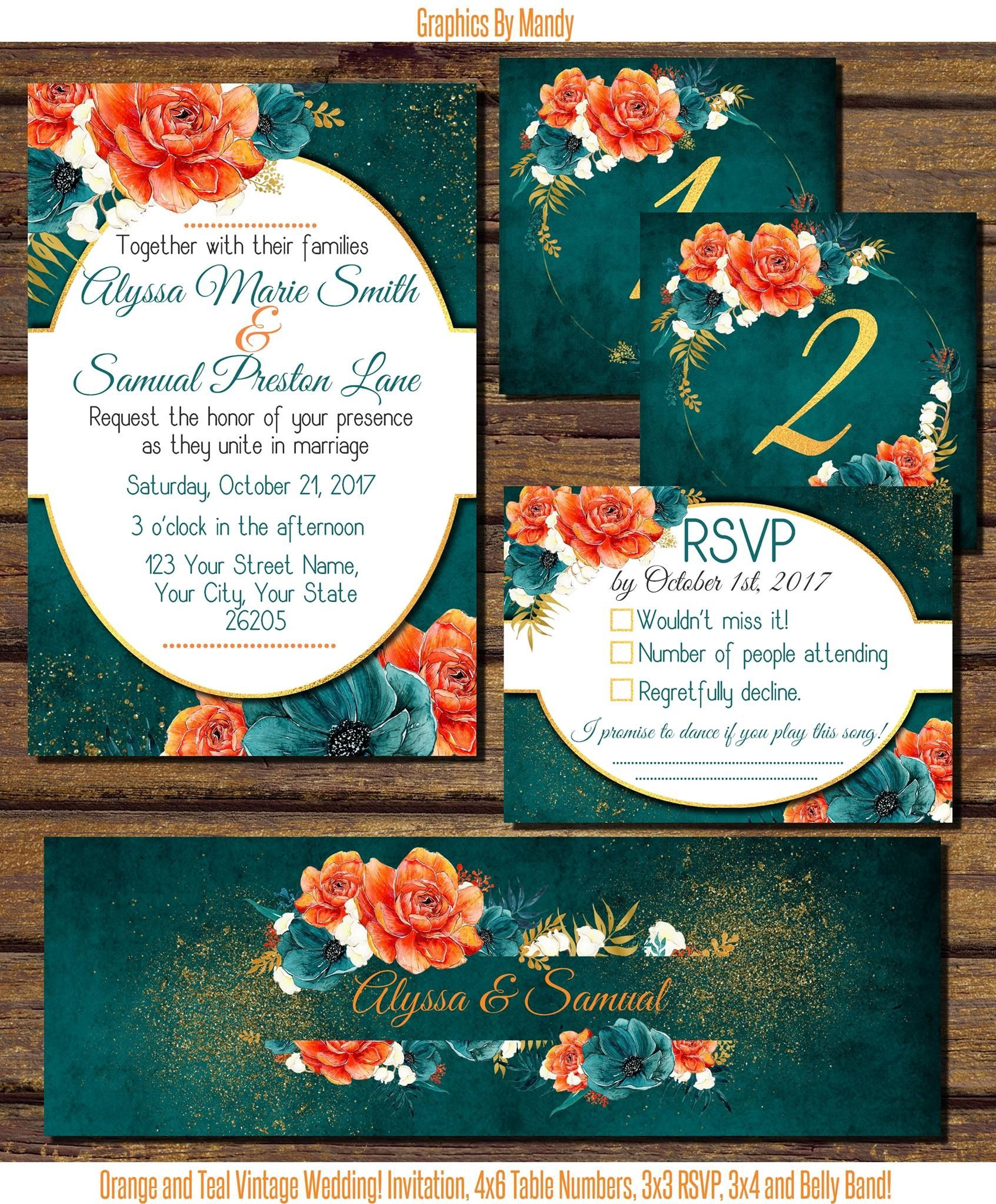 Beautiful Orange And Teal Wedding With Hints Of Gold Pdf 25 00